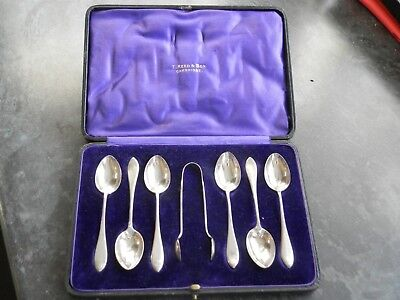Cased Set of 6 Silver Coffee Spoons & Tongs Hallmarked London 1913 by H.A & S