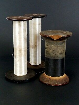 Vtg Antique Wooden Industrial Textile Rope Thread Spools BobbinsLot of 3 Sewing