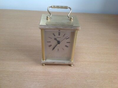 Vintage Brass Carriage Clock With Marble Surround Smiths