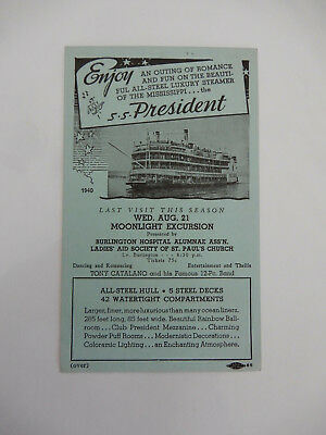 Vintage advertising card S.S. President All-Steel Mississippi Steamboat steamer