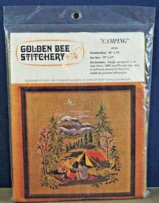 Camping crewel embroidery kit Golden Bee Stitchery tent moon vtg 70s new sealed