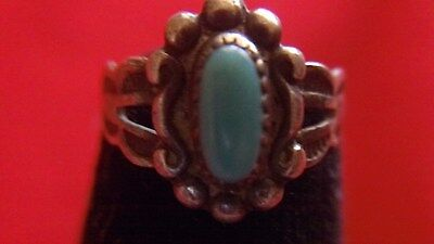 NAVAJO STERLING SILVER BABY RING WITH TURQUOISE size 2.5