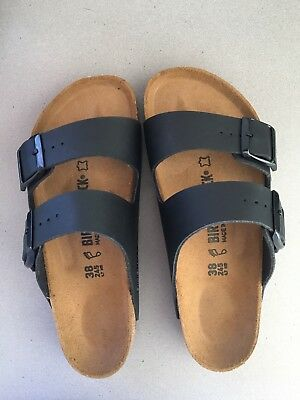c3a37801c41d BIRKENSTOCK - New ARIZONA Black Nubuck Leather Sandals - W Sz 38 L7 M5