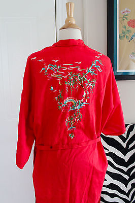 Vintage Unisex Red Asian Japanese Embroidered Robe One Size