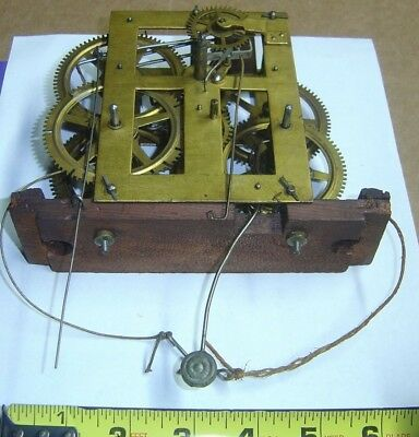 Antique Unknown Og Weight Driven Mantel Mantle Clock Movement Parts Repair