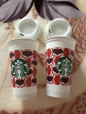 Starbucks 2019 Valentine's Lovers Hearts Plastic Reusable Travel Tumbler Cup