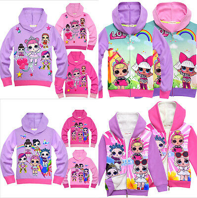 Kids Girls LOL Surprise Dolls Cartoon Coat Jacket Hooded Top Sweatshirts Clothes