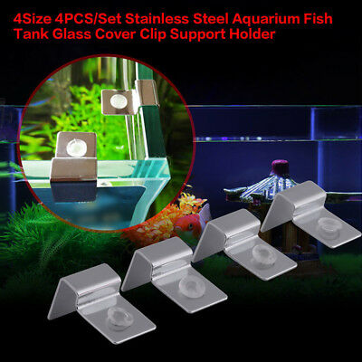 4x Stainless Steel Glass Cover Clip Holder Fish Tank Aquarium Sturdy Safe Cling
