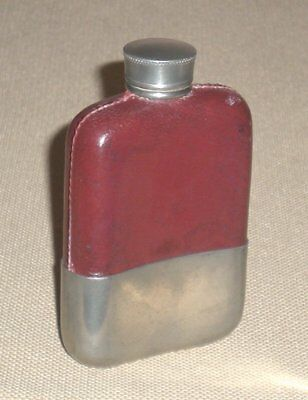 Vintage Pocket Metal FLASK England 2oz Pewter Cowhide Case Dove Marked 650g