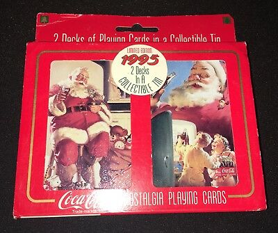 1995 Vintage Coca-Cola Nostalgia Playing Cards 2 Decks In A Tin
