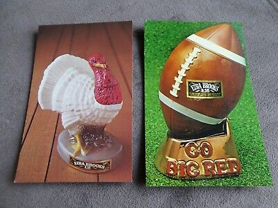 Erza Brooks Whiskey Advertising Postcards Lot Of 2 Rooster & Football
