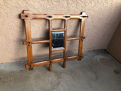 Vintage Five Mounted Horns Hat Rack On Wooden Western Shield Plaque With Mirror