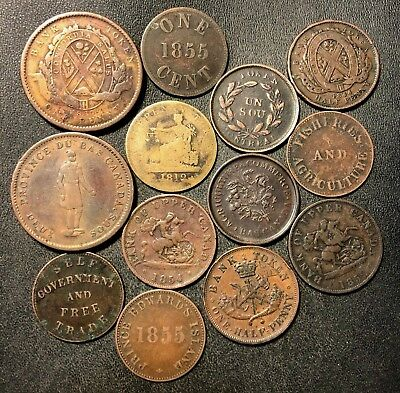 Old Canada Coin Lot - 1812-1857 - 13 PRE-CONFEDERATION COINS - Lot #J21
