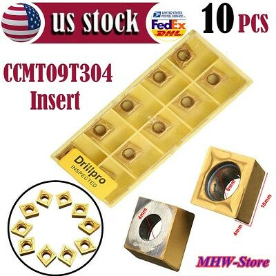 10pcs CCMT09T304 CCMT32.5 Carbide Insert For Lathe SCLCR Turning Tool Holder US