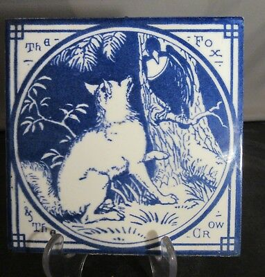 Minton China Aesop Fables Tile Blue Ca 1880 The Fox and the Crow