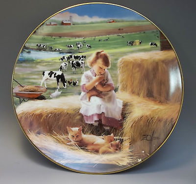 Danbury Mint Country Companions Zolan Collector Plate Special Blonde Girl Kitten