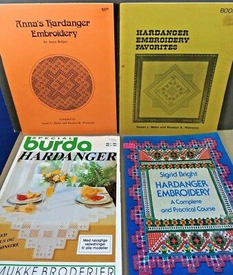 Lot of 4 Hardanger Embroidery needlework craft pattern project books