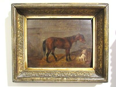 """""""Best Friends""""; Horse And Dog In Stable; 19th Century Oil Painting On Wood"""