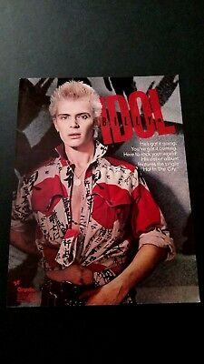 """Billy Idol  """" Hot In The City """" (1982) Rare Original Print Promo Poster Ad"""