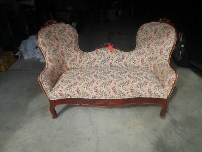 Antique Sofa Love Seat Victorian Early 1900's Cherry Wood