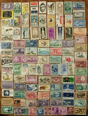 101 Used Early Us All Different Stamps Off Paper Collection #051