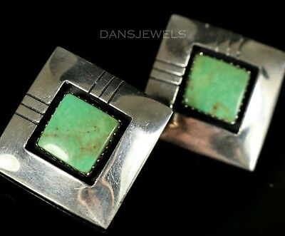 Old Pawn Vintage NAVAJO Sterling Silver GREEN Turquoise Post STUD Earrings