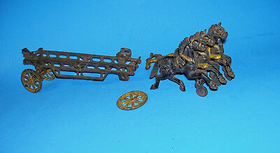 Antique Cast Iron.. 3 Horse Hitch.. With Fire/ladder Carriage/fire Engine