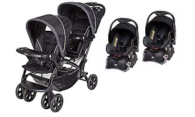 Baby Trend Double Sit N Stand Stroller With Two Car Seats Combo Set Black
