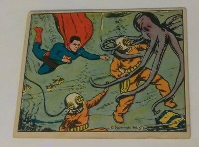 Superman 1940 vintage gum card #47 horror beneath the sea