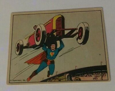 Superman 1940 vintage gum card #17 death on the speedway