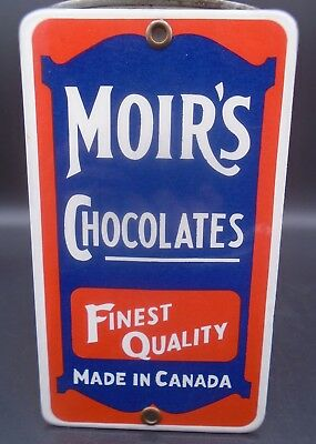 """Moirs Chocolates (6 1/2 X 3 3/4"""" Inch) Ssp Porcelain Push Bar Sign Reproduction"""