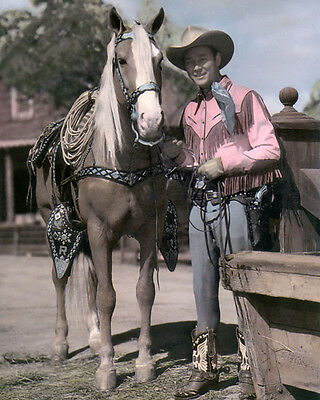 "ROY ROGERS & TRIGGER COUNTRY WESTERN SINGER ACTOR 8x10"" HAND COLOR TINTED PHOTO"