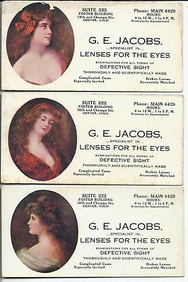 3pc Lot Ink Blotters G.E. Jacobs Lenses for the Eyes Foster Building Denver Co