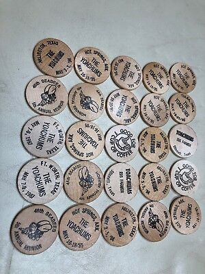 Wooden Nickels 46th SEABEES 5th ANNUAL REUNION Lot Of 35 Hot Springs Ark & TEXAS