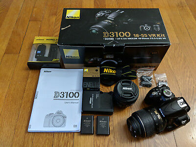Nikon D D3100 14.2MP Digital SLR Camera with (2) Lens and accessories