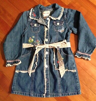 Toffee Girls Denim Jeans Apple Embroidered Dress Size 5