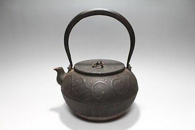 "ad440 Antique Japanese Cast Iron Teakettle Tetsubin ""Ring Lid Knob"" Tea Ceremony"