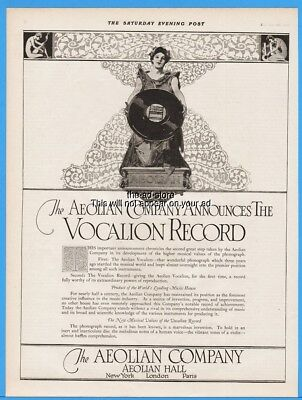 1918 Aeolian Co New York Vocalion Record Gorgeous Art Deco Magazine Print Ad