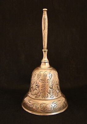 Vintage Solid Brass Floral Hand Etched Design Brass Bell 6'' Tall. India