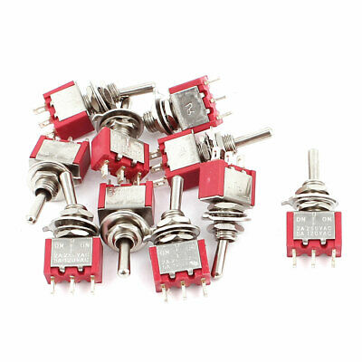 Interruptor basculante eléctrico 2A250V 5A120VAC 10PCS SPDT ON/OFF/ON 6mm ROJO
