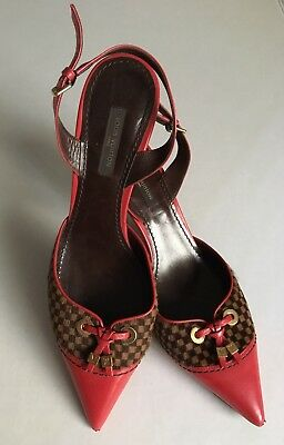 f06ad3db2ec Louis Vuitton Women s Red Leather Checkered Pony Hair Slingback Pumps Sz. 37