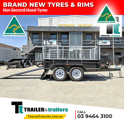 9x5 TANDEM AXLE HEAVY DUTY ALL-PURPOSE TRAILER + CAGE + RACKS +RAMPS +NEW WHEELS