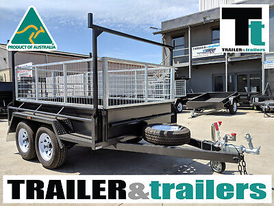 9x5 TANDEM AXLE HEAVY DUTY ALL-PURPOSE TRAILER +CAGE +RACKS +RAMPS +SPARE+JOCKEY