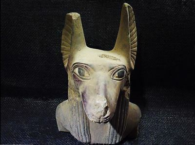 Egyptian Antiques Antiquities Anubis Jackal Head Dog Bust Statue 2687-2182 Bc