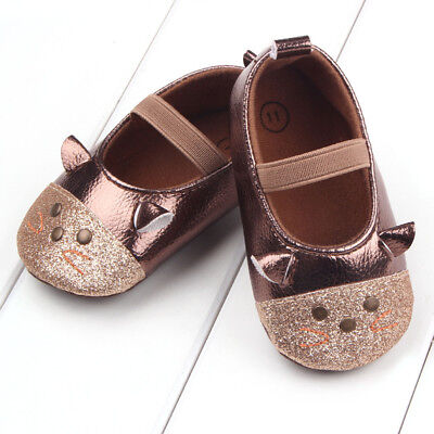 9-18 Months Size Baby Girls Crib Toddler Rubber Cute Cat Infant Soft Sole Shoes