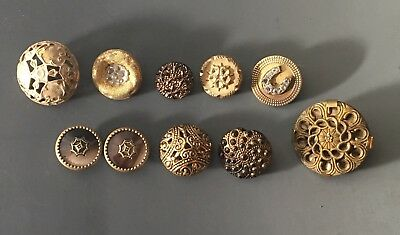 Antique Button Group 10 Old Glass, Celluloid, Fabric & Metals