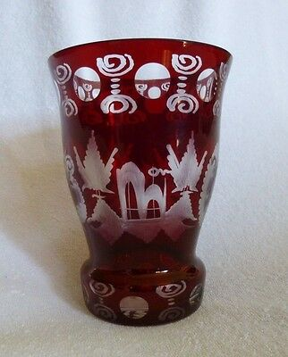 Vintage Bohemian Ruby Red Cut to Clear Glass Vase Czech Republic