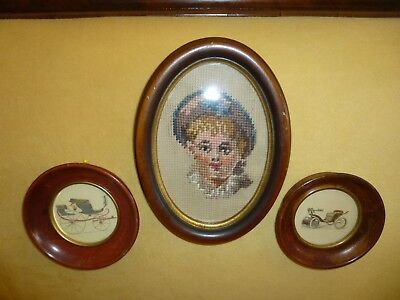 Antique Vintage Petit Point Needlepoint Lady Automobile Prints Framed Victorian