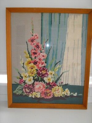 VINTAGE EMBROIDERED/TAPESTRY PICTURE..FRAMED..C1950s..CONSTANCE SPRY