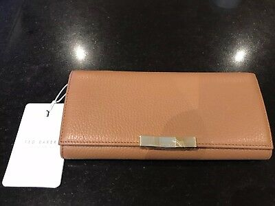 e29f4d03f Ted Baker Womens Emblyn Faceted Bow Sunken Zip Matinee Purse In Tan BNWT  RRP £85